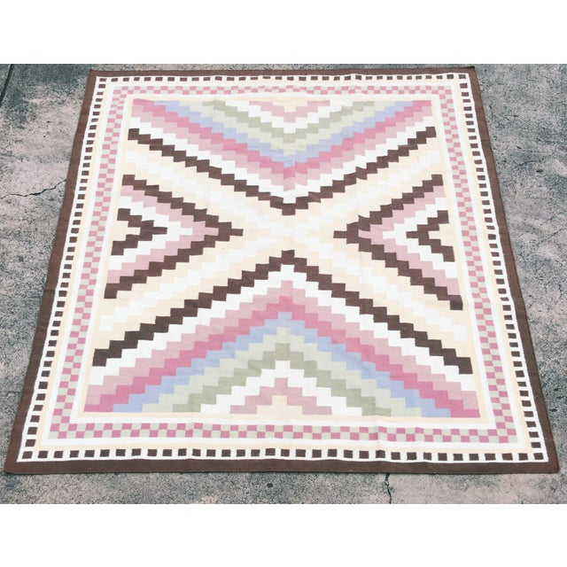 Multi-Colored Geometric Dhurrie Rug - 8′ × 10′ - Image 2 of 3