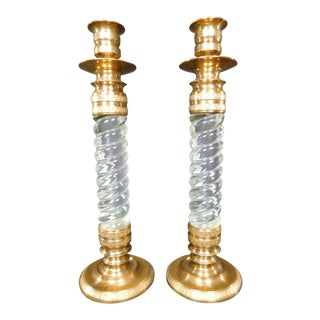 Vintage Brass Twisted Lucite Glass Candlesticks - A Pair