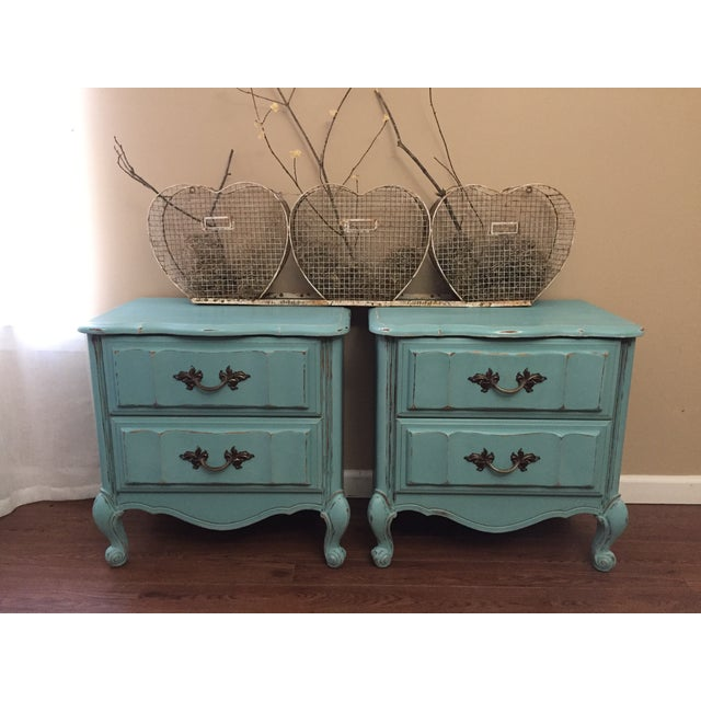 Mint Blue French Provence Nightstands - A Pair - Image 5 of 11