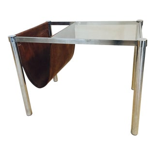 Mid-Century Leather & Glass Magazine Rack Table