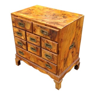 Italian Campaign Style Olive Wood Bachelors Chest