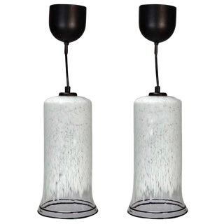 Mid-Century Murano Black Rimmed Pendant Lights - A Pair