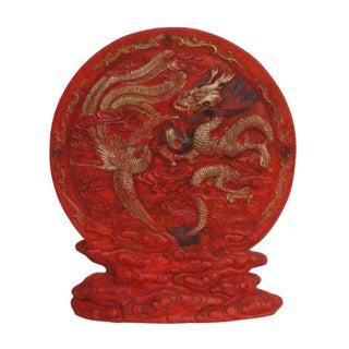 Dragon Phoenix Chinese Calligraphic Red Ink Stone