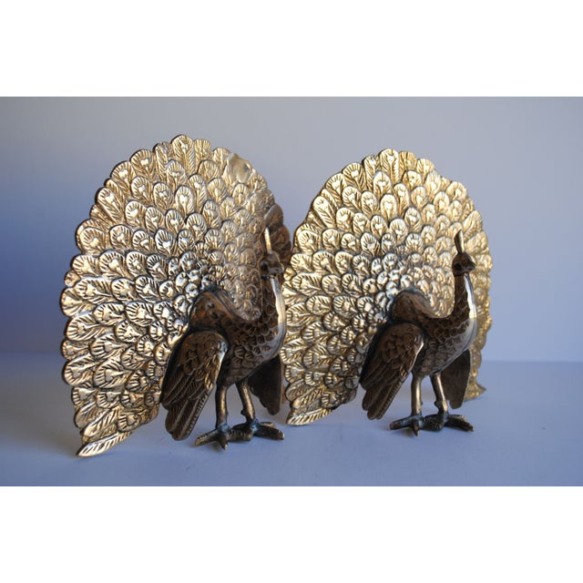 Vintage Brass Peacock Bookends Chairish