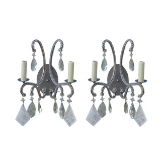 Silvered Rock Crystal Sconces - A Pair
