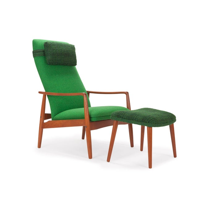 1950s Svend Langkilde for Sl Mobler Teak w/ Green Upholstered Danish Recliner Lounge Chair & Ottoman - Image 2 of 6