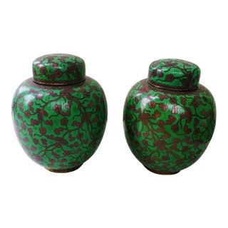 Vintage Marshall Field & Co. Cloisonne Ginger Jars - A Pair
