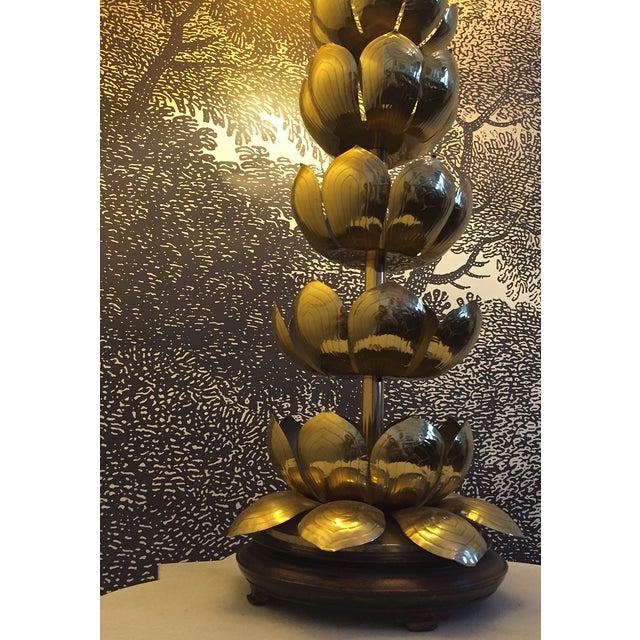 Vintage Brass Lotus Lamp Attributed to Feldman - Image 8 of 9