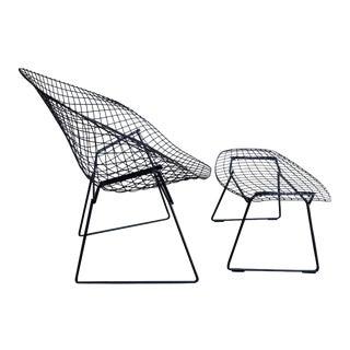 Mid-Century Harry Bertoia Diamond Chair and Ottoman for Knoll