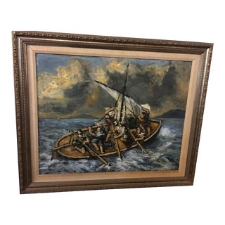 """Nautical """"Sailors in a Storm"""" Painting"""