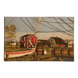 New England Harbor Scene Wood Panel Screen Print