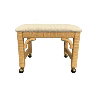 Vintage 1970s Rattan-Wrapped Rolling Ottoman