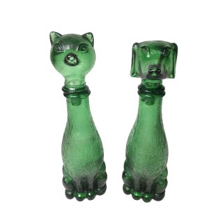 Vintage Green Glass Cat & Dog Decanters - A Pair