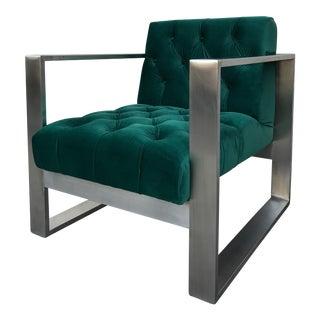 Modern Dark Green & Silver Lounge Chair