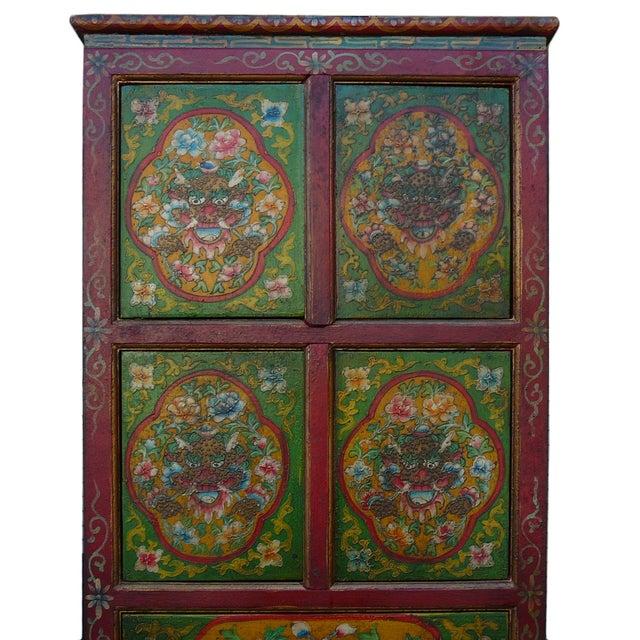 Chinese Tibetan Green Red Dragon Slim Cabinet - Image 2 of 6
