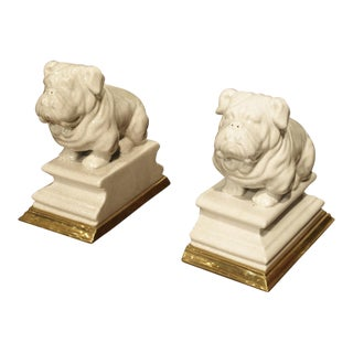 A Pair of Porcelain and Bronze Bulldog Bookends from France