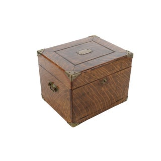 Antique Oak Box With Brass Hardware