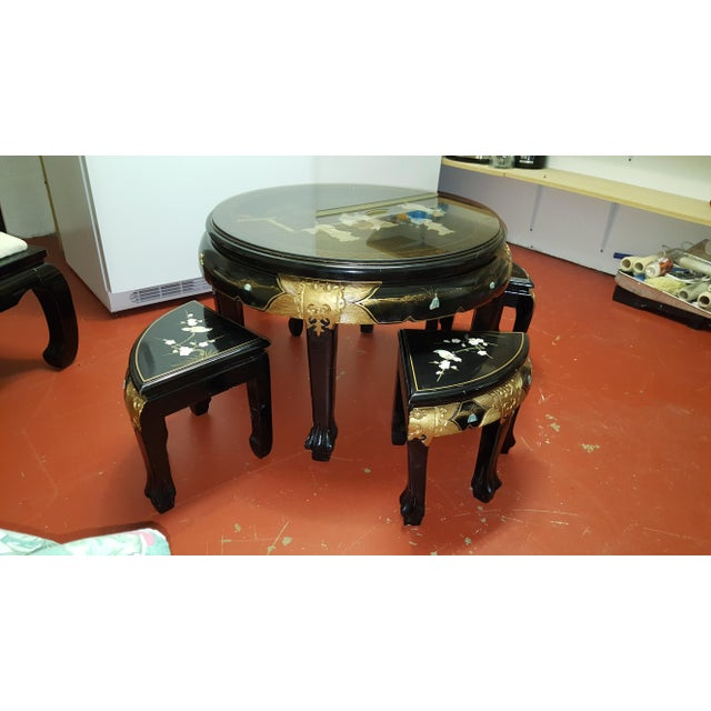 Asian Black Lacquered Tea Coffee Table 4 Stools Set Of 5 Chairish