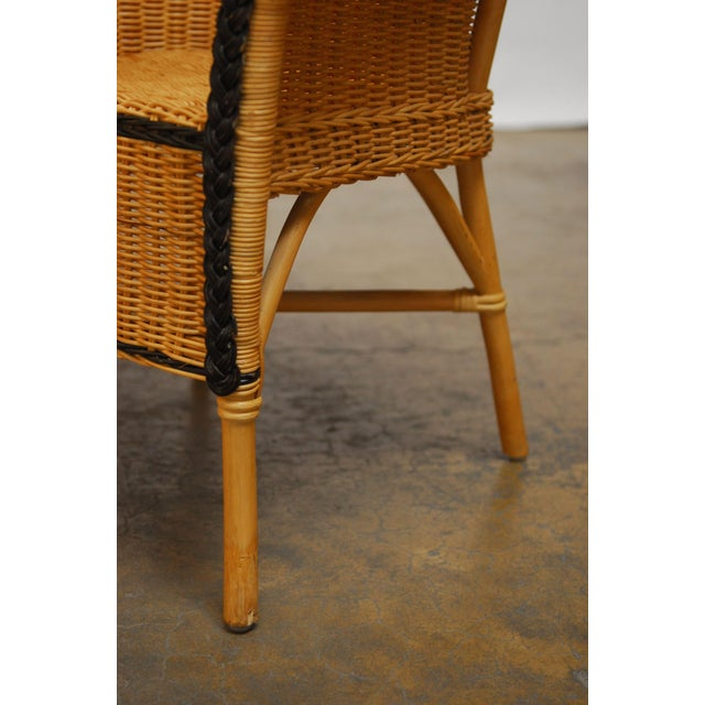 French Grange Style Rattan Club Chairs - A Pair - Image 7 of 7
