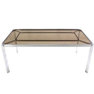 Milo Baughman Smoked Glass Dining Table