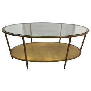 Metal Oval Hammered Coffee Table With Glass Top