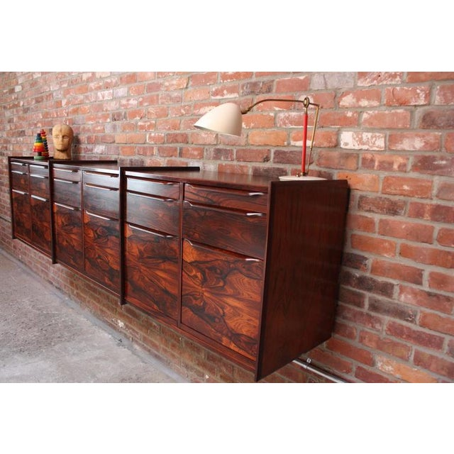 Monumental Scandinavian Modern Rosewood Floating Credenza - Image 4 of 11