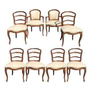 Antique French Provincial Petit Ladder Back Dining Chairs - Set of 8