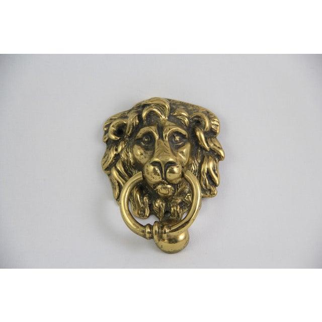Antique brass lion head door knocker chairish - Antique brass lion head door knocker ...