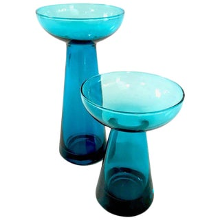 Mid-Century Glass Candle Vases - A Pair