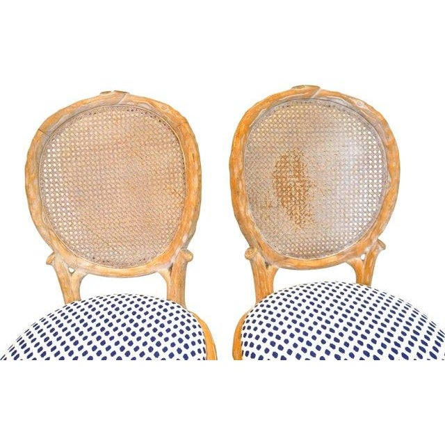 Vintage Faux Bois & Cane Dining Chairs - Set of 4 - Image 5 of 6