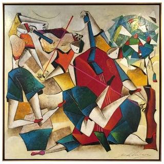 """Original David Schluss Painting """"Fantasia of Music"""""""