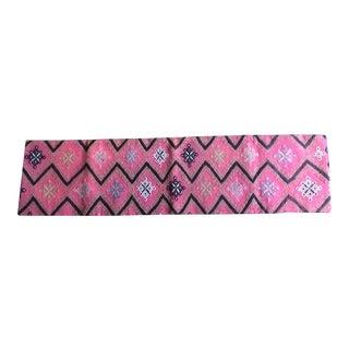 Long Lumbar Pink Vintage Kilim Pillow Cover