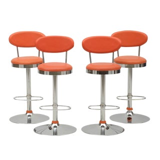 Modern Orange Counter Stools - Set of 4
