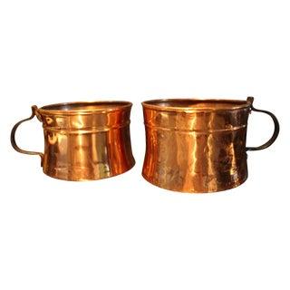 Vintage Copper Pots With Handles - Pair