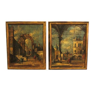 Vintage Italian Gilt Framed Piazza/Plaza Paintings- A Pair
