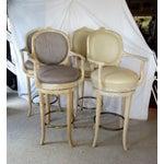 Image of Faux Bois & Leather Upholstered Swivel Bar Stools - Set of 4