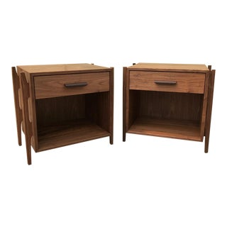 Mid-Century Humboldt Solid Walnut Nightstands - A Pair