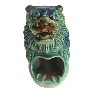 Vintage Glazed Ceramic Foo Dog Ashtray