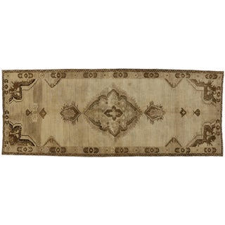 "Vintage Turkish Oushak Gallery Rug with Muted Colors - 5'1"" x 12'9"""