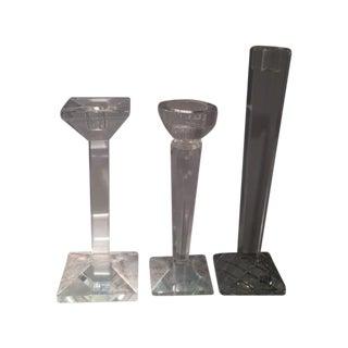 Oleg Cassini Crystal Candle Holders - Set of 3