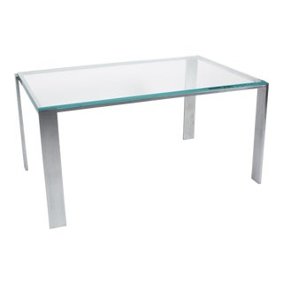 Chrome Frame Coffee Table with Offset Legs, French, 1970s