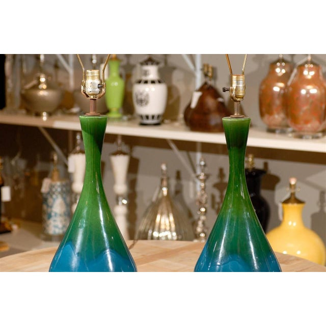 Mid-Century Green and Blue Glazed Lamps - Pair - Image 4 of 6
