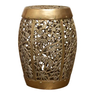 Chinese Brass Drum Side Table