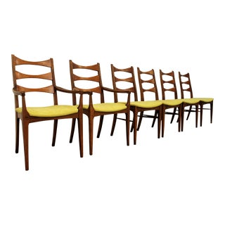 Mid Century Danish Modern Walnut 'Citron' Bow Tie Dining Chairs - Set of 6
