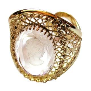 Chunky Whiting & Davis Intaglio Clamper Bracelet