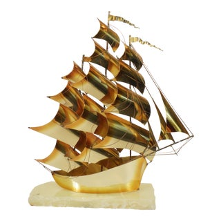 1975 DeMott Brass & Marble Sailing Ship