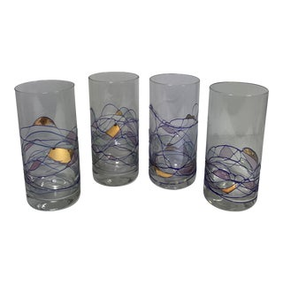 Handblown Abstract Highball Glasses - Set of 4