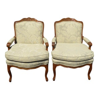 Vintage French Provincial Carved Wood Off-White Floral Chairs - A Pair