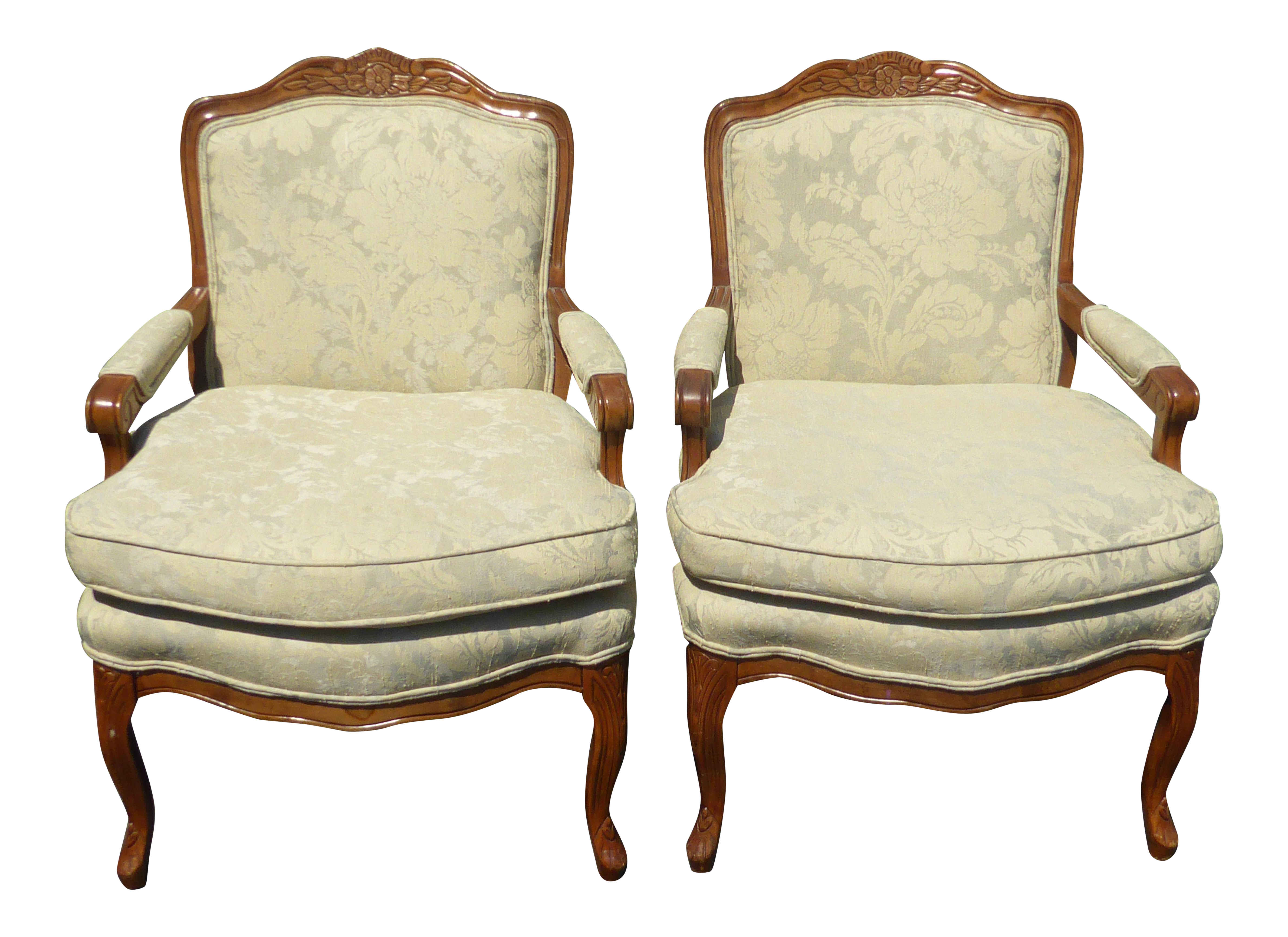 Vintage French Provincial Carved Wood Off White Floral Chairs   A Pair
