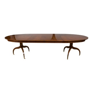 Schmieg & Kotzian Double Pedestal Flame Mahogany Dining Table